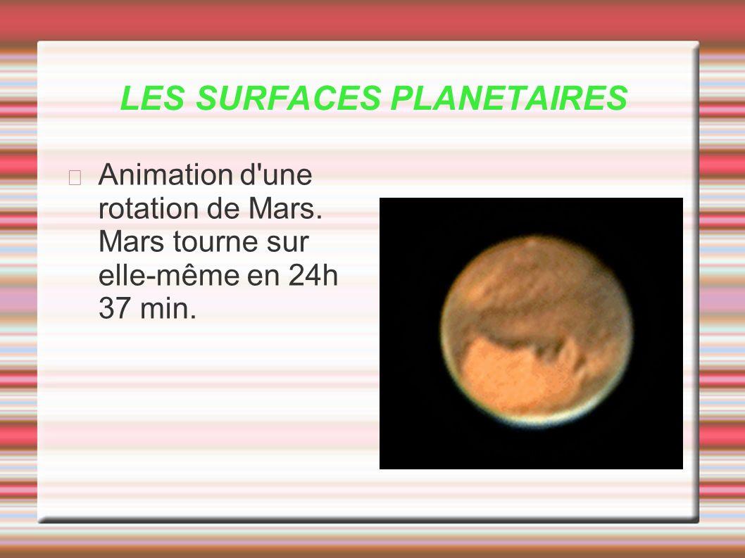 LES SURFACES PLANETAIRES Animation d'une rotation de Mars. Mars tourne sur elle-même en 24h 37 min.