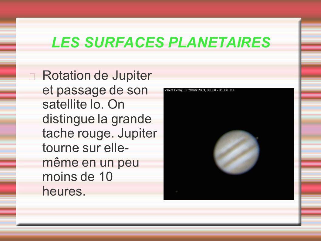 LES SURFACES PLANETAIRES Rotation de Jupiter et passage de son satellite Io. On distingue la grande tache rouge. Jupiter tourne sur elle- même en un p