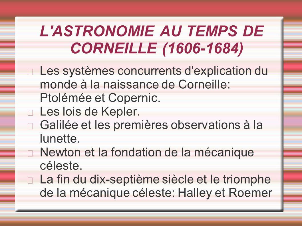 L'ASTRONOMIE AU TEMPS DE CORNEILLE (1606-1684) Les systèmes concurrents d'explication du monde à la naissance de Corneille: Ptolémée et Copernic. Les
