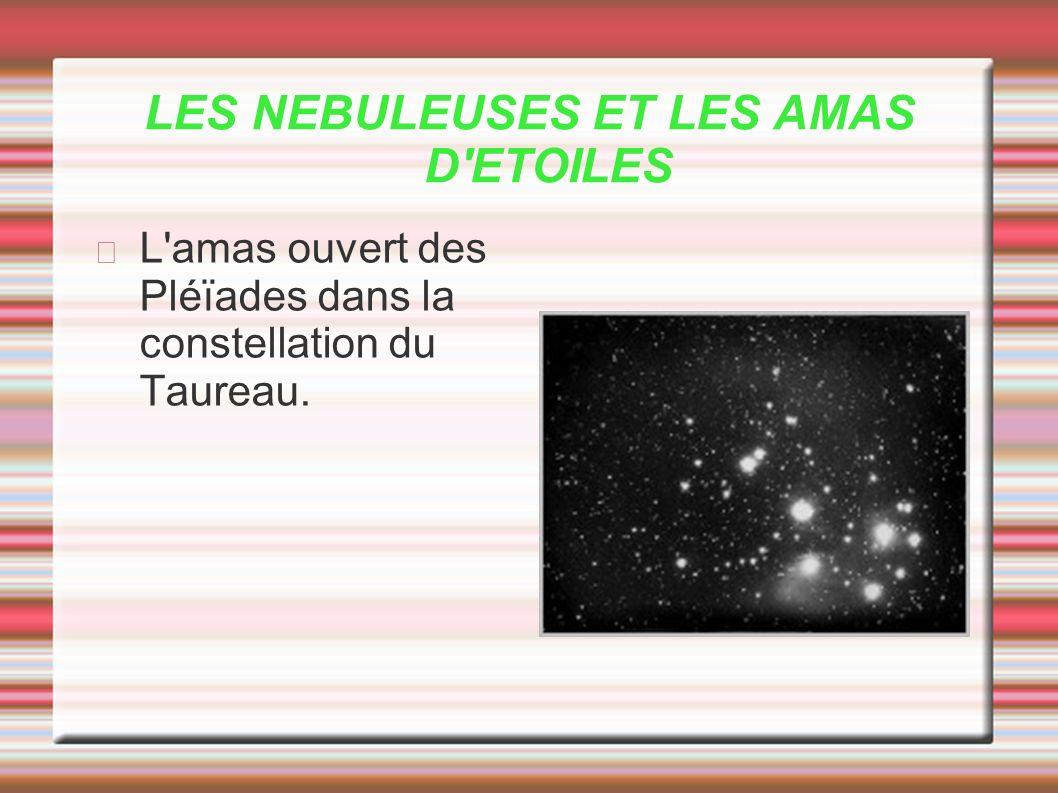 LES NEBULEUSES ET LES AMAS D'ETOILES L'amas ouvert des Pléïades dans la constellation du Taureau.