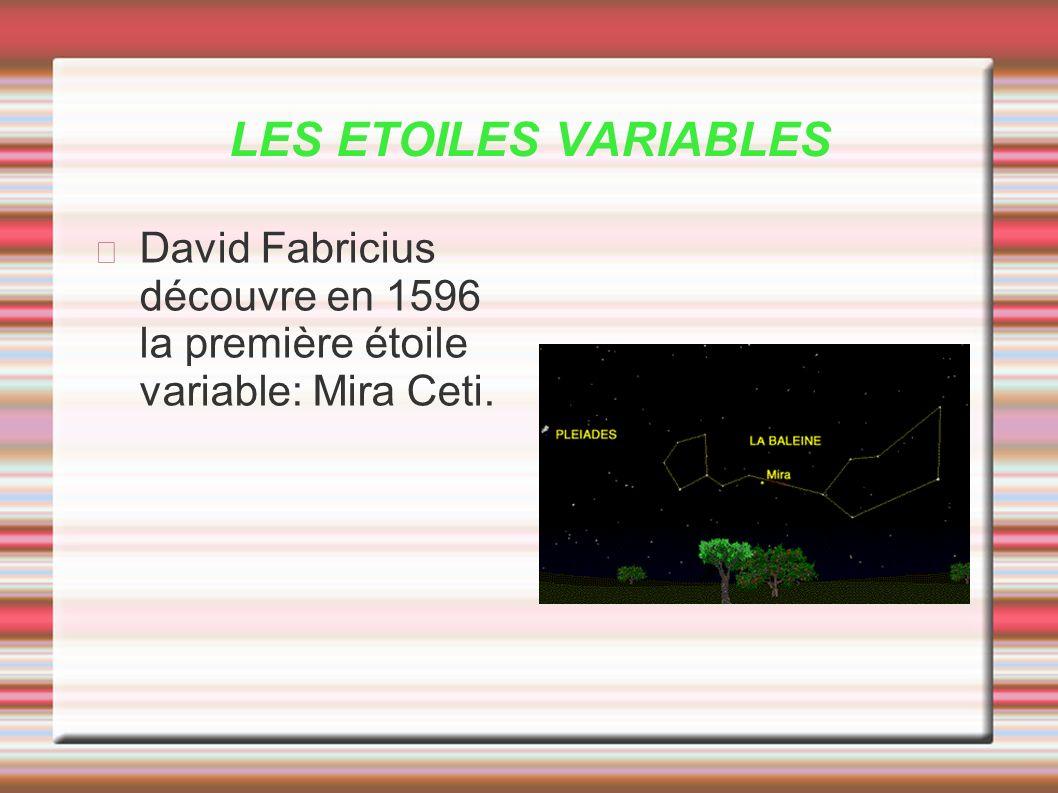 LES ETOILES VARIABLES David Fabricius découvre en 1596 la première étoile variable: Mira Ceti.