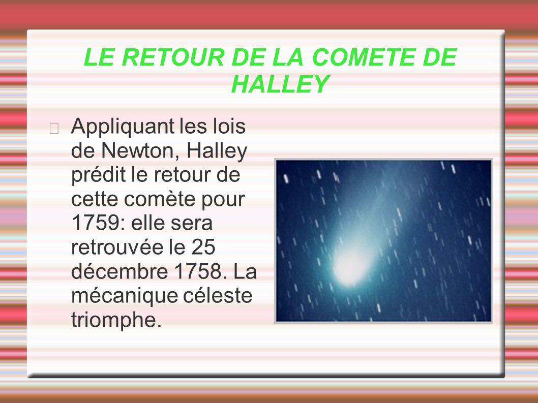 LE RETOUR DE LA COMETE DE HALLEY Appliquant les lois de Newton, Halley prédit le retour de cette comète pour 1759: elle sera retrouvée le 25 décembre
