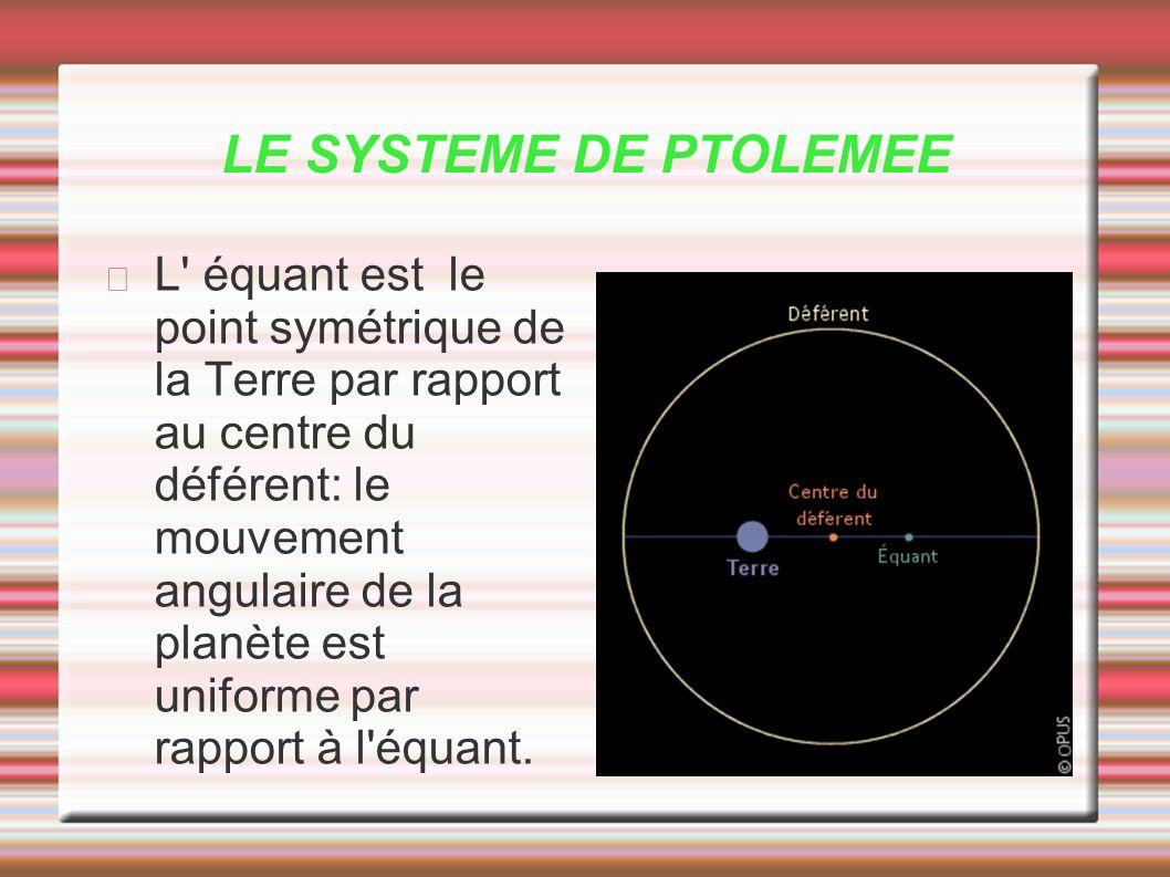 LE SYSTEME DE PTOLEMEE L' équant est le point symétrique de la Terre par rapport au centre du déférent: le mouvement angulaire de la planète est unifo