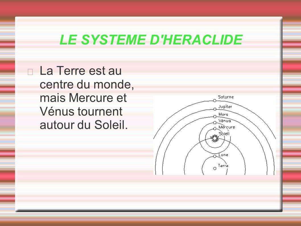 LE SYSTEME D'HERACLIDE La Terre est au centre du monde, mais Mercure et Vénus tournent autour du Soleil.