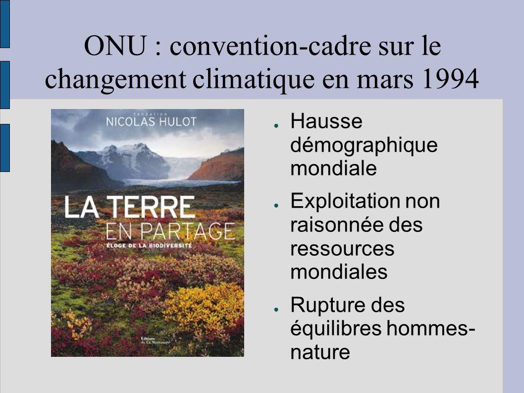 ONU : convention-cadre sur le changement climatique en mars 1994 Hausse démographique mondiale Exploitation non raisonnée des ressources mondiales Rupture des équilibres hommes- nature
