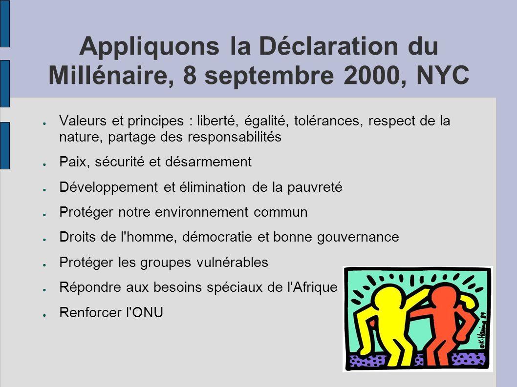 Appliquons la Déclaration du Millénaire, 8 septembre 2000, NYC Valeurs et principes : liberté, égalité, tolérances, respect de la nature, partage des responsabilités Paix, sécurité et désarmement Développement et élimination de la pauvreté Protéger notre environnement commun Droits de l homme, démocratie et bonne gouvernance Protéger les groupes vulnérables Répondre aux besoins spéciaux de l Afrique Renforcer l ONU