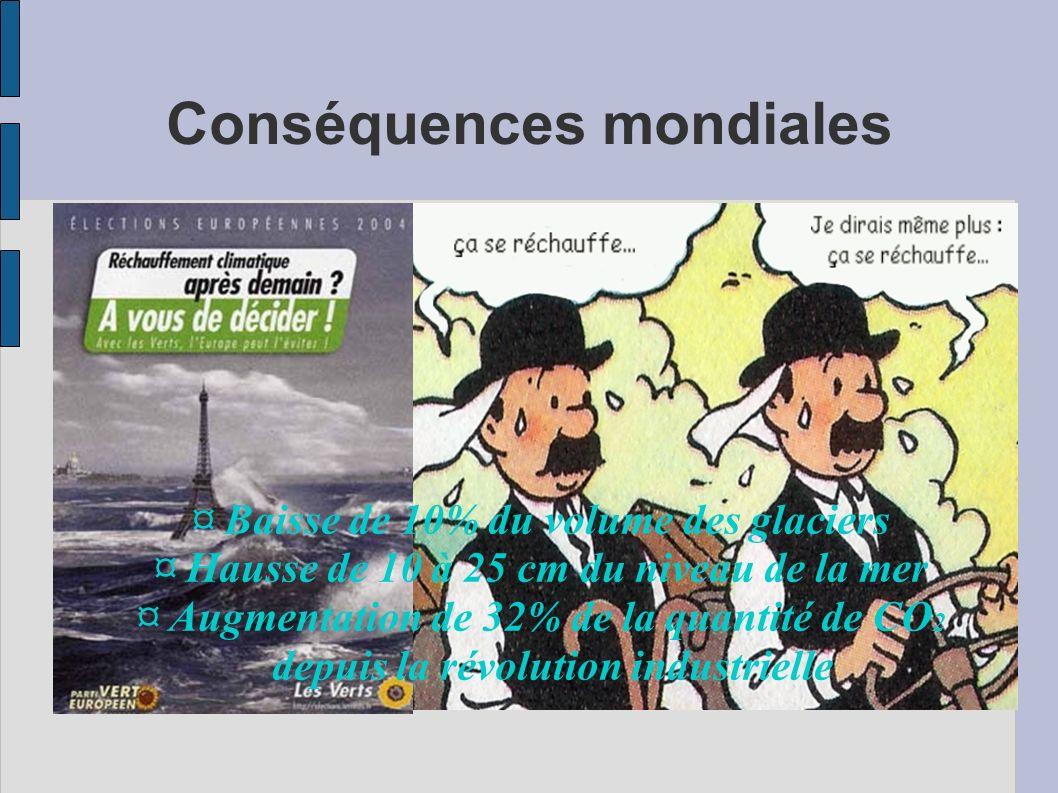 Conséquences mondiales ¤ Baisse de 10% du volume des glaciers ¤ Hausse de 10 à 25 cm du niveau de la mer ¤ Augmentation de 32% de la quantité de CO 2 depuis la révolution industrielle