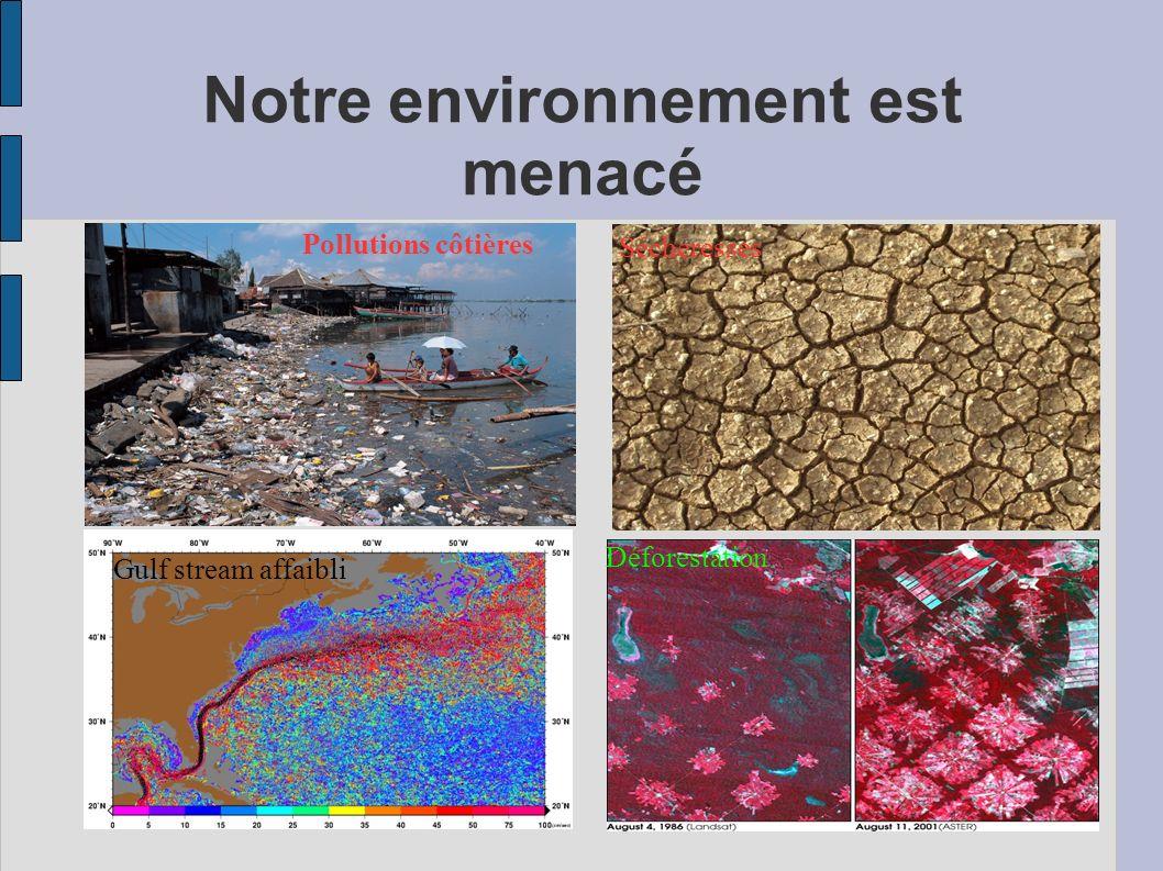 Notre environnement est menacé Pollutions côtières Sécheresses Gulf stream affaibli Déforestation