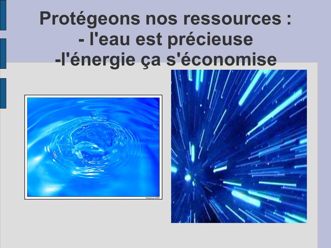 Protégeons nos ressources : - l eau est précieuse -l énergie ça s économise