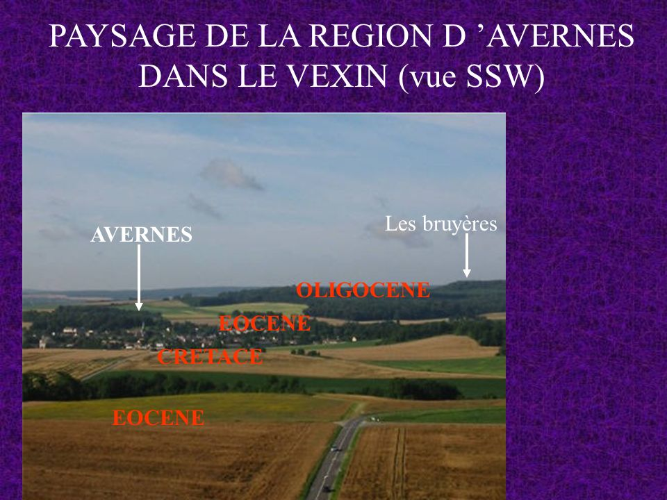 PAYSAGE DE LA REGION D AVERNES DANS LE VEXIN (vue SSW) AVERNES Les bruyères EOCENE CRETACE EOCENE OLIGOCENE