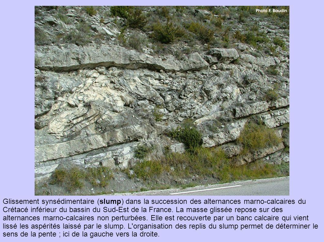 Glissement synsédimentaire (slump) dans la succession des alternances marno-calcaires du Crétacé inférieur du bassin du Sud-Est de la France.