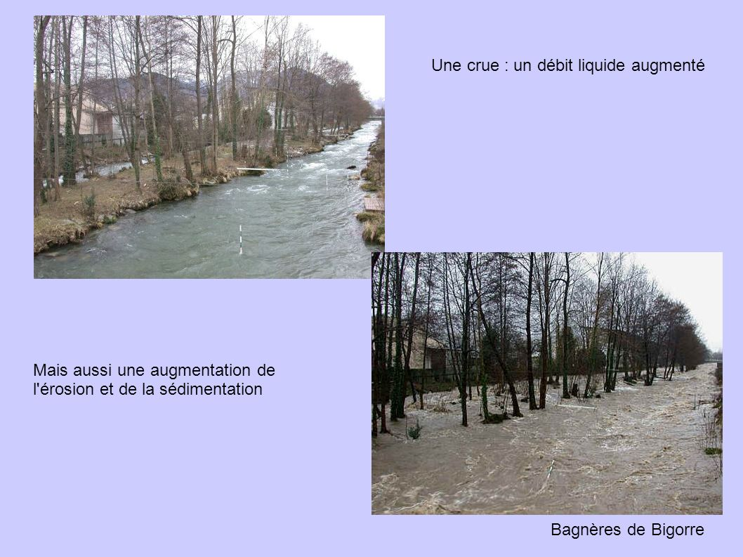 Bagnères de Bigorre Une crue : un débit liquide augmenté Mais aussi une augmentation de l érosion et de la sédimentation