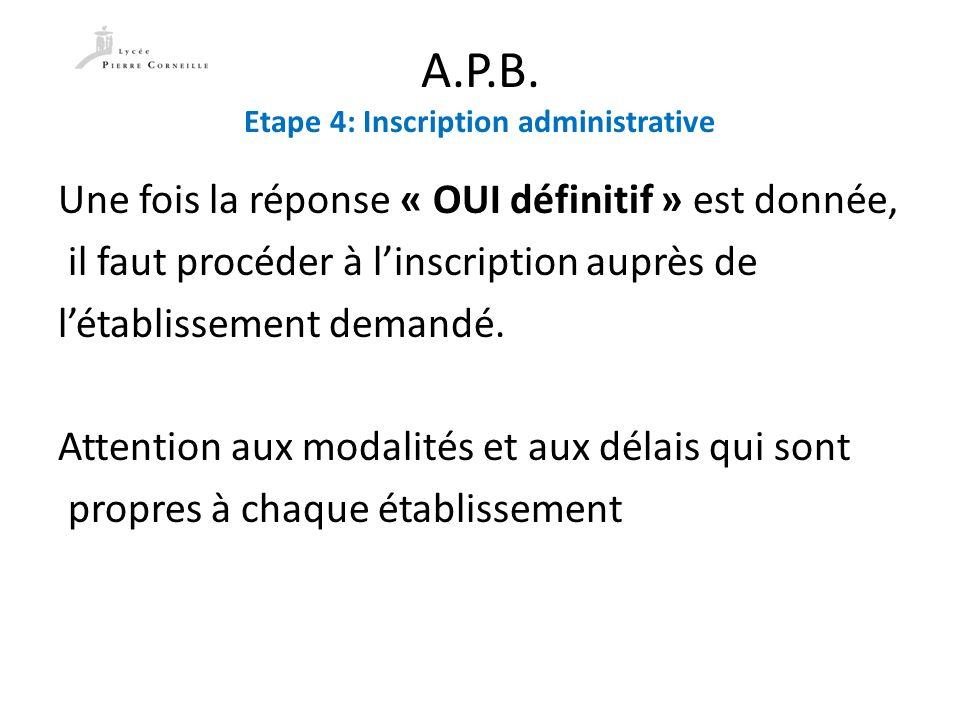 A.P.B. Etape 4: Inscription administrative Une fois la réponse « OUI définitif » est donnée, il faut procéder à linscription auprès de létablissement