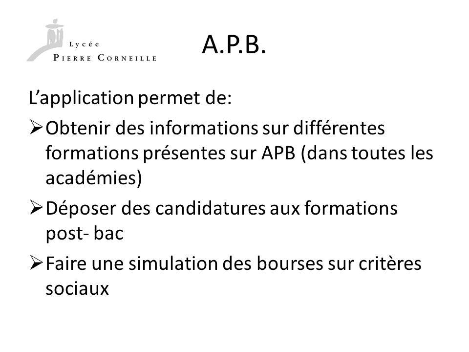 A.P.B. Lapplication permet de: Obtenir des informations sur différentes formations présentes sur APB (dans toutes les académies) Déposer des candidatu