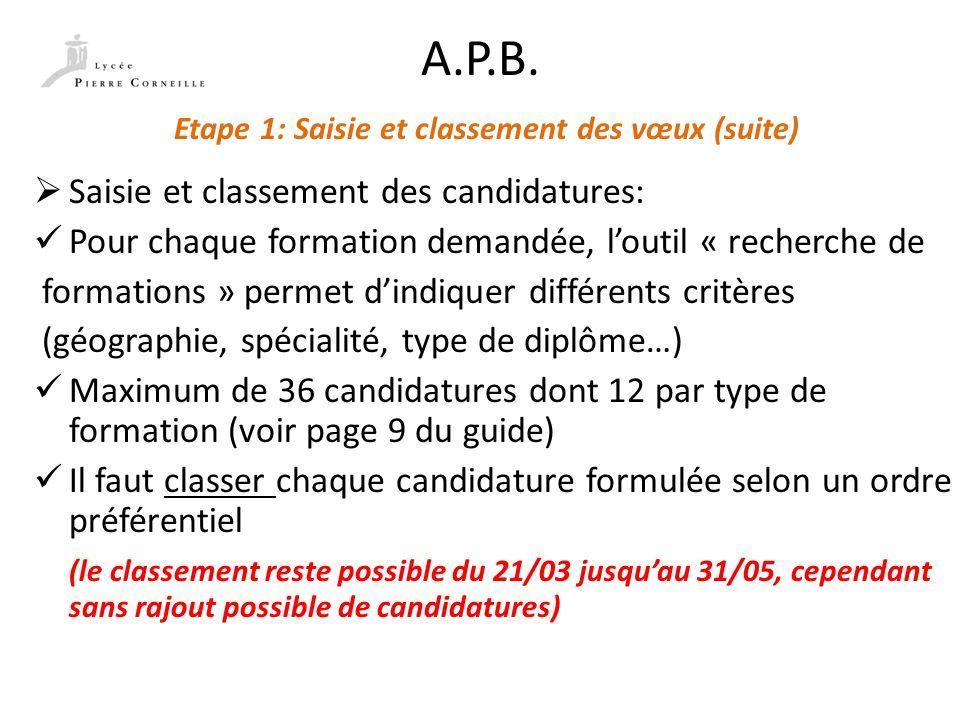 A.P.B. Etape 1: Saisie et classement des vœux (suite) Saisie et classement des candidatures: Pour chaque formation demandée, loutil « recherche de for