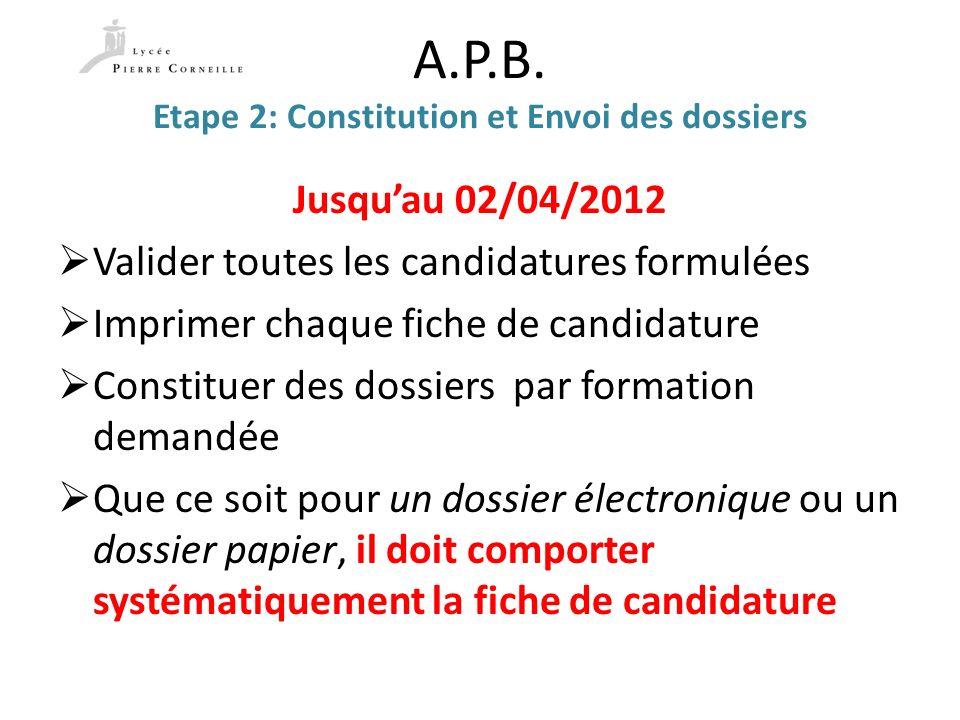 A.P.B. Etape 2: Constitution et Envoi des dossiers Jusquau 02/04/2012 Valider toutes les candidatures formulées Imprimer chaque fiche de candidature C
