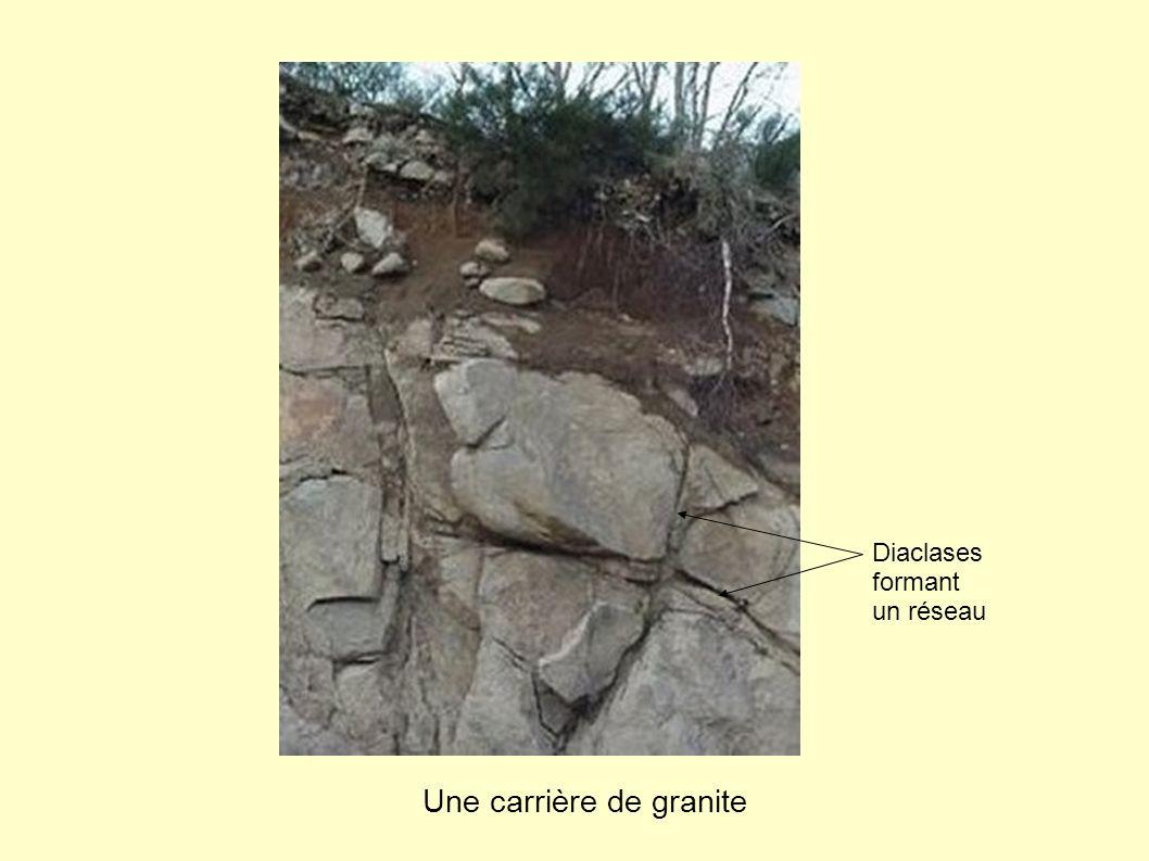 Une carrière de granite Diaclases formant un réseau