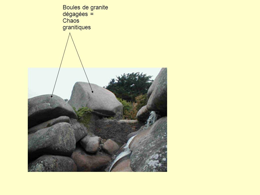Boules de granite dégagées = Chaos granitiques