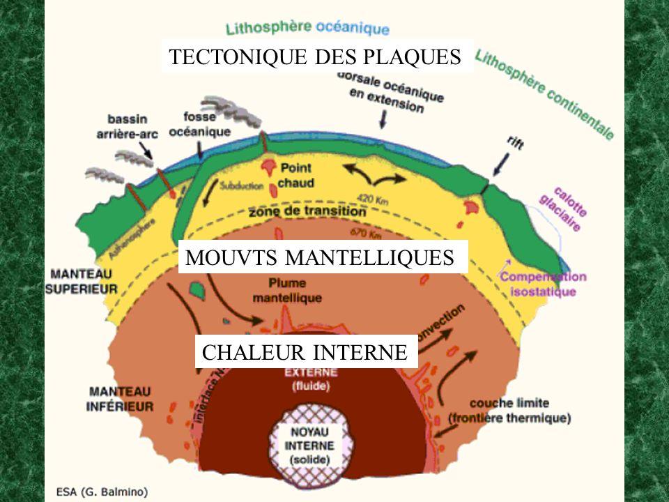CHALEUR INTERNE MOUVTS MANTELLIQUES TECTONIQUE DES PLAQUES