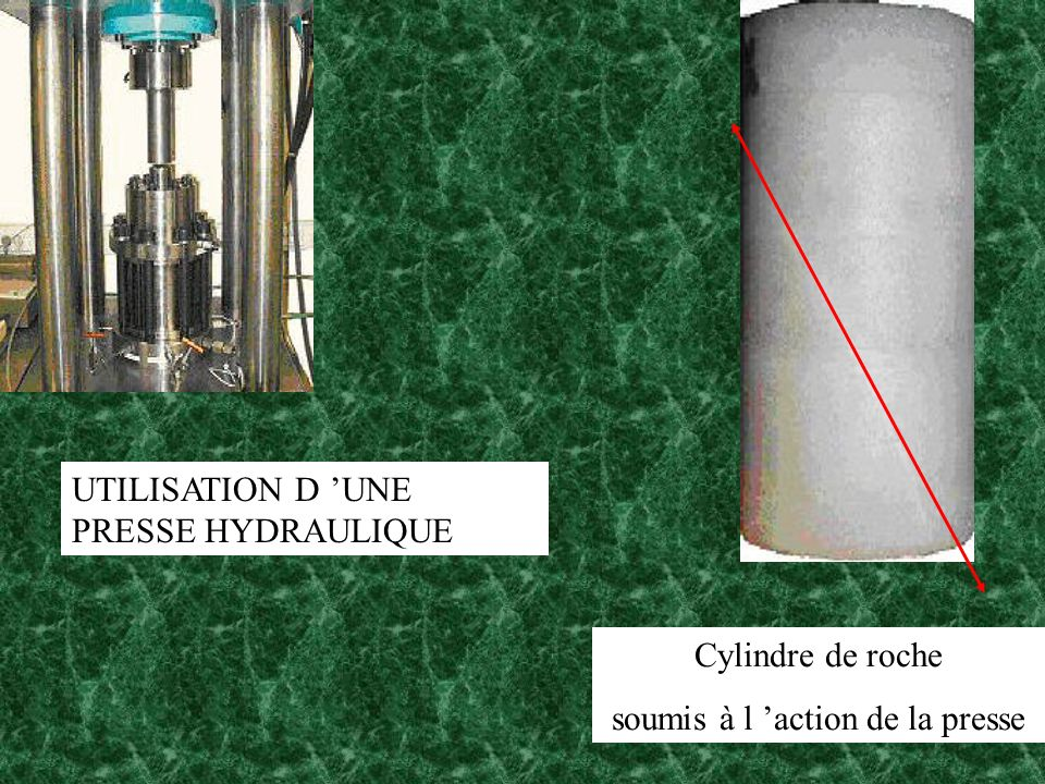 UTILISATION D UNE PRESSE HYDRAULIQUE Cylindre de roche soumis à l action de la presse