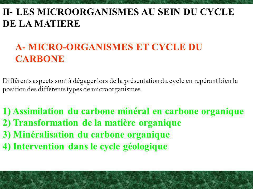 II- LES MICROORGANISMES AU SEIN DU CYCLE DE LA MATIERE A- MICRO-ORGANISMES ET CYCLE DU CARBONE Différents aspects sont à dégager lors de la présentati