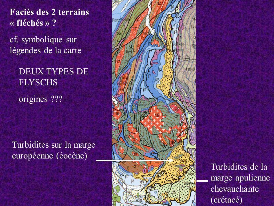 DEUX TYPES DE FLYSCHS origines ??? Turbidites sur la marge européenne (éocène) Turbidites de la marge apulienne chevauchante (crétacé) Faciès des 2 te