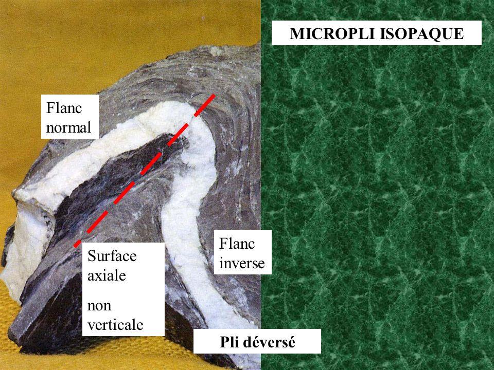 MICROPLI ISOPAQUE Surface axiale non verticale Pli déversé Flanc normal Flanc inverse