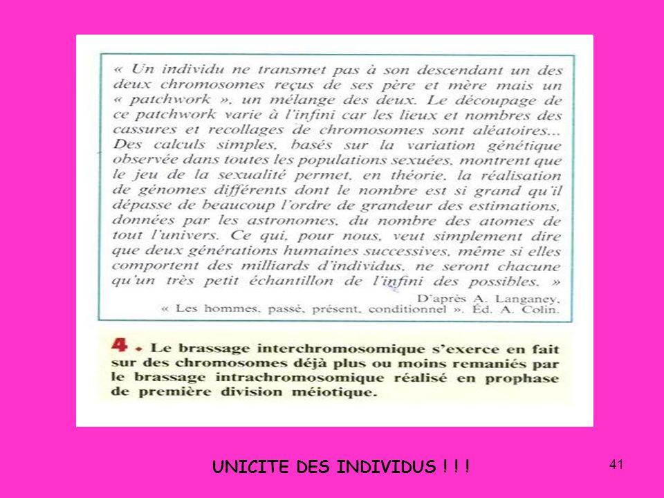 41 UNICITE DES INDIVIDUS ! ! !