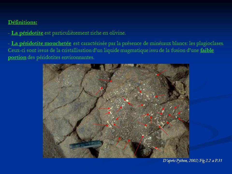 Définitions: - La péridotite est particulièrement riche en olivine.