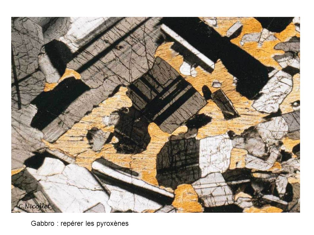 Gabbro : repérer les pyroxènes