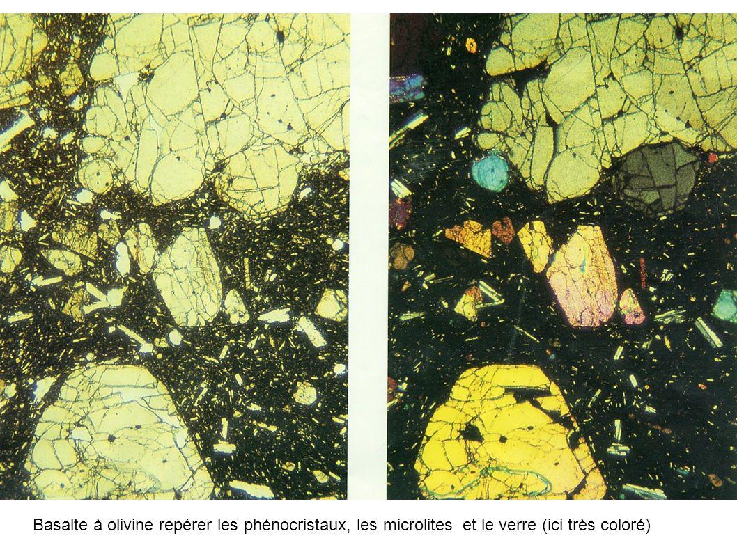 Basalte à olivine repérer les phénocristaux, les microlites et le verre (ici très coloré)