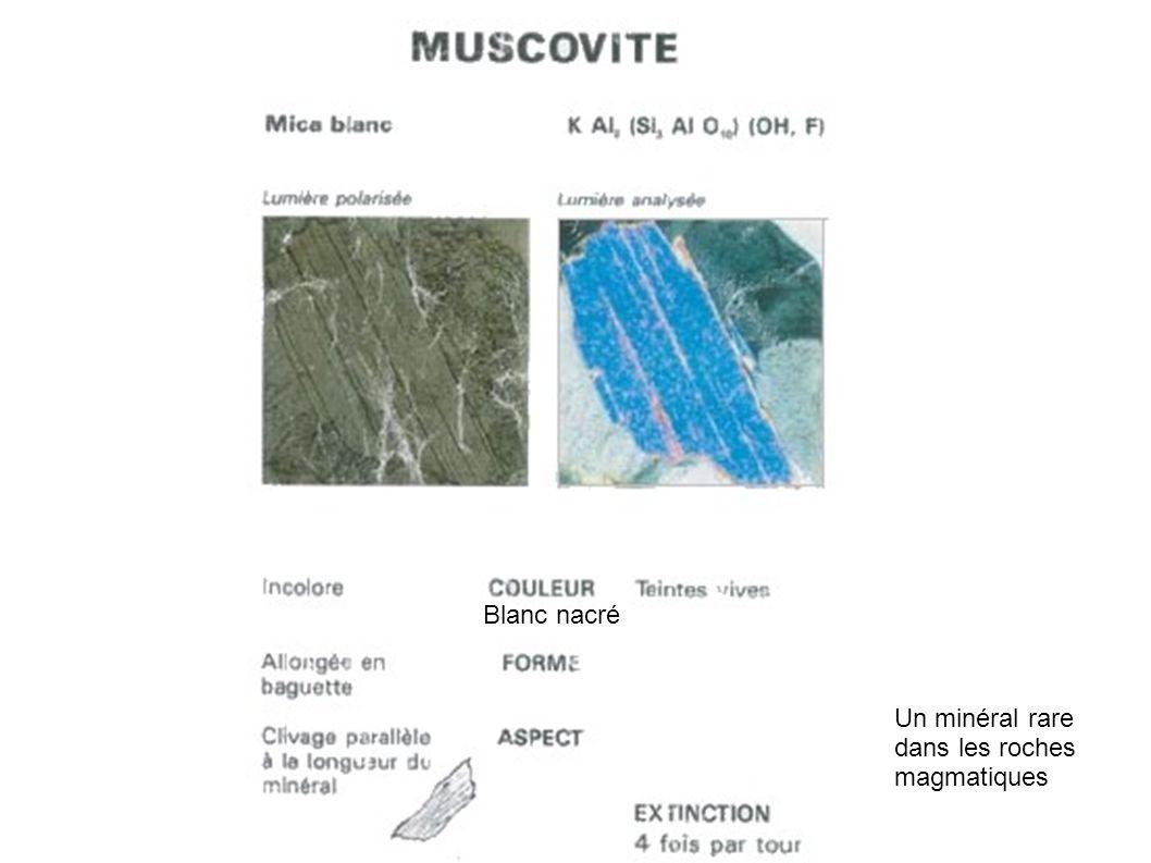 Un minéral rare dans les roches magmatiques Blanc nacré