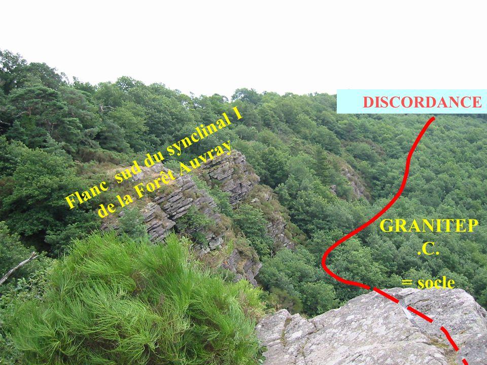 GRANITEP.C. = socle Flanc sud du synclinal I de la Forêt Auvray DISCORDANCE