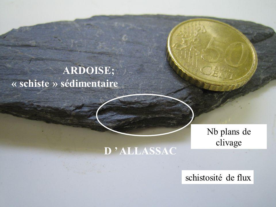 D ALLASSAC ARDOISE; « schiste » sédimentaire Nb plans de clivage schistosité de flux