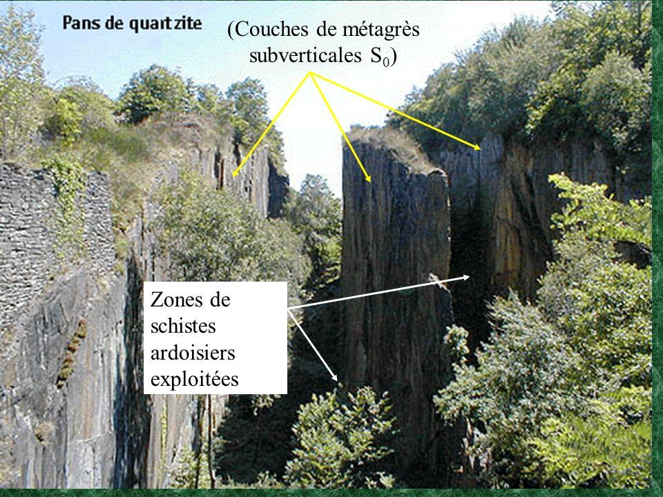 (Couches de métagrès subverticales S 0 ) Zones de schistes ardoisiers exploitées