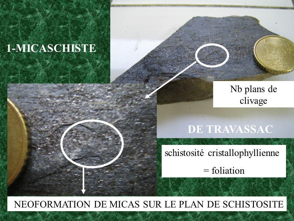 DE TRAVASSAC 1-MICASCHISTE NEOFORMATION DE MICAS SUR LE PLAN DE SCHISTOSITE schistosité cristallophyllienne = foliation Nb plans de clivage