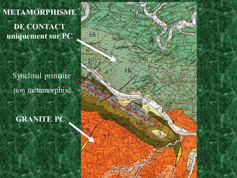 METAMORPHISME DE CONTACT uniquement sur PC GRANITE PC Synclinal primaire non métamorphisé