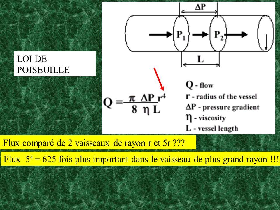 Flux comparé de 2 vaisseaux de rayon r et 5r ??? LOI DE POISEUILLE Flux 5 4 = 625 fois plus important dans le vaisseau de plus grand rayon !!!