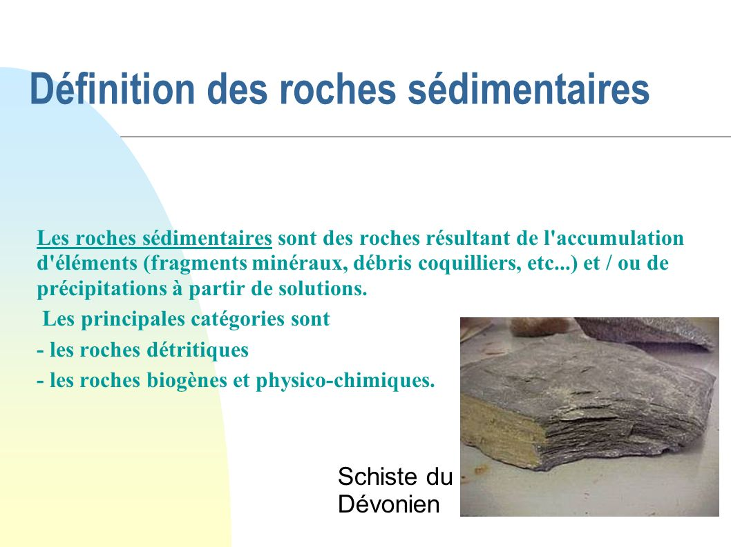 Définition des roches sédimentaires Les roches sédimentaires sont des roches résultant de l'accumulation d'éléments (fragments minéraux, débris coquil