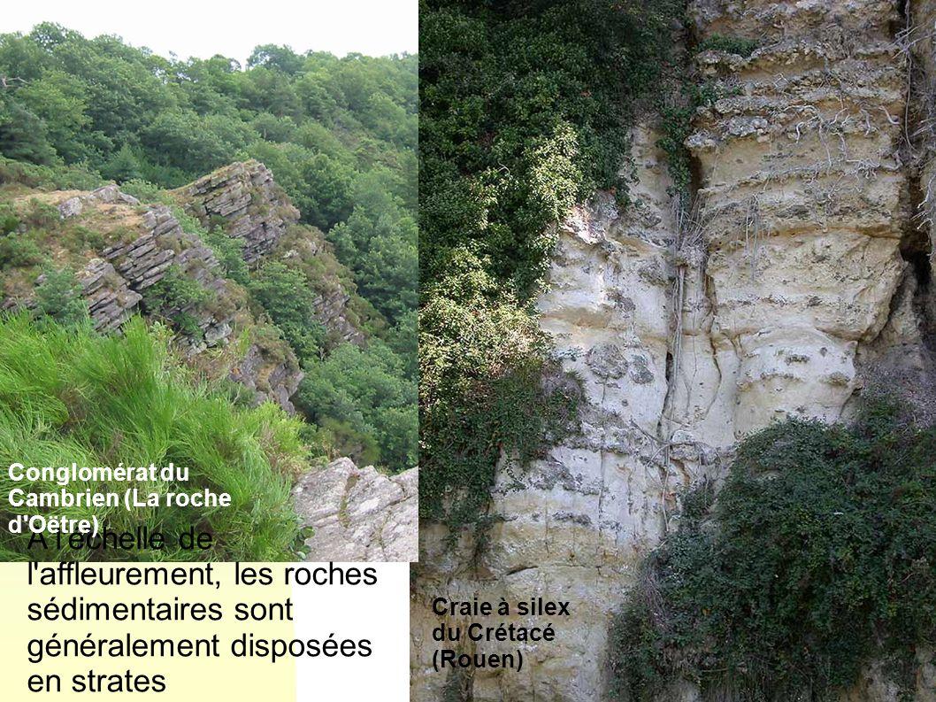 A l'échelle de l'affleurement, les roches sédimentaires sont généralement disposées en strates Craie à silex du Crétacé (Rouen) Conglomérat du Cambrie