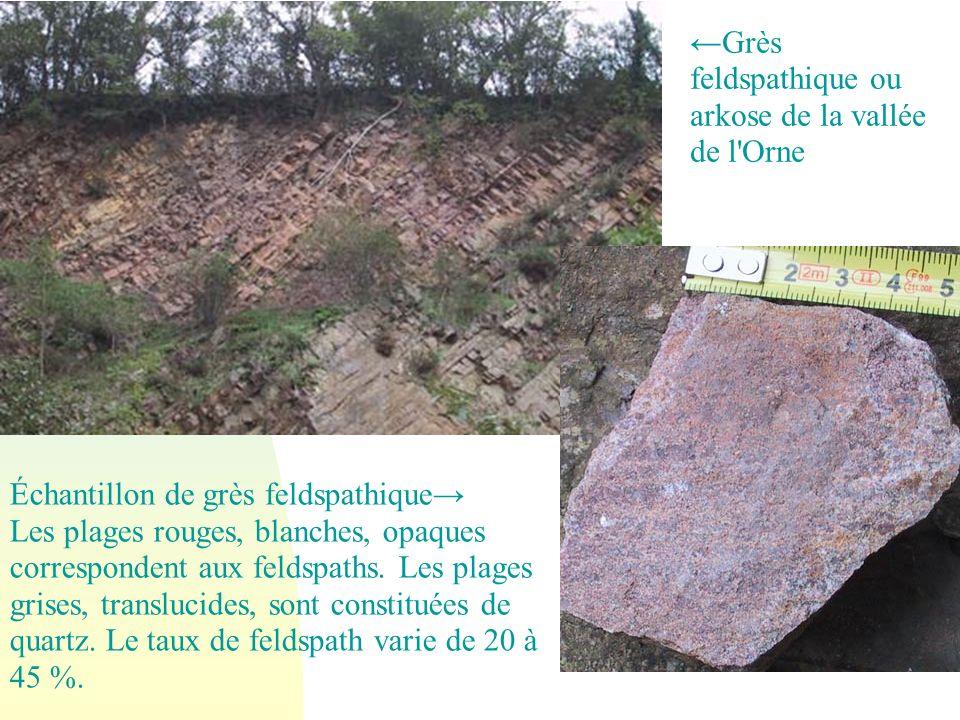 Échantillon de grès feldspathique Les plages rouges, blanches, opaques correspondent aux feldspaths. Les plages grises, translucides, sont constituées