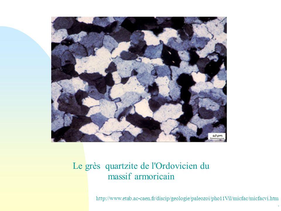 Le grès quartzite de l'Ordovicien du massif armoricain. http://www.etab.ac-caen.fr/discip/geologie/paleozoi/pho11Vil/micfac/micfacvi.htm