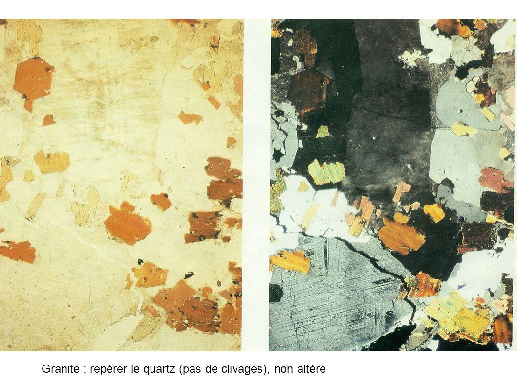 Granite : repérer le quartz (pas de clivages), non altéré