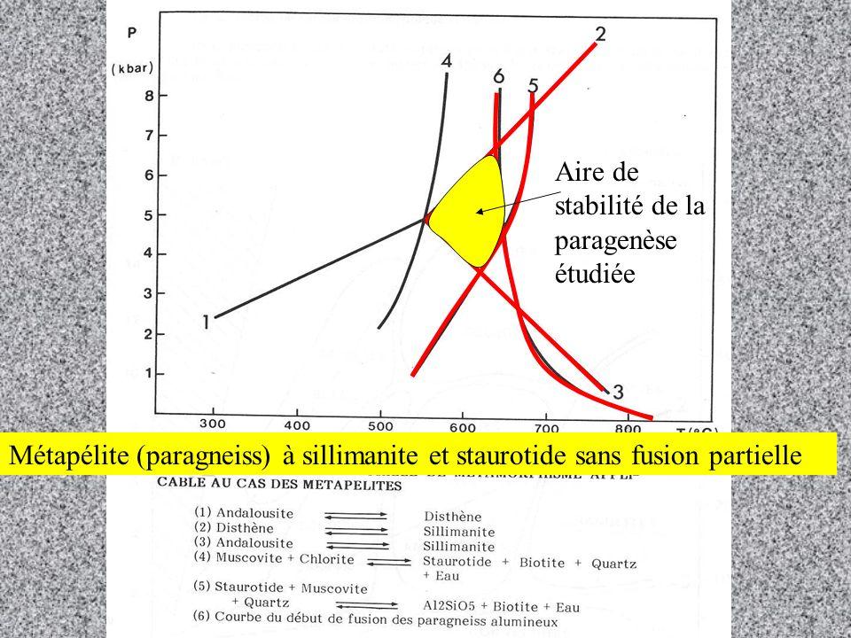 Aire de stabilité de la paragenèse étudiée Métapélite (paragneiss) à sillimanite et staurotide sans fusion partielle