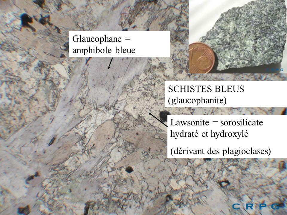 SCHISTES BLEUS (glaucophanite) Glaucophane = amphibole bleue Lawsonite = sorosilicate hydraté et hydroxylé (dérivant des plagioclases)
