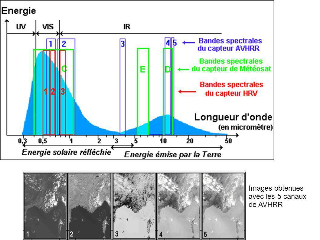 Sol nu Courbes de réponse des 4 canaux du capteur « végétation » embarqué à bord des satellites SPOT 4 et 5, ainsi que des courbes typiques de réponses spectrales de la végétation et dun sol nu.