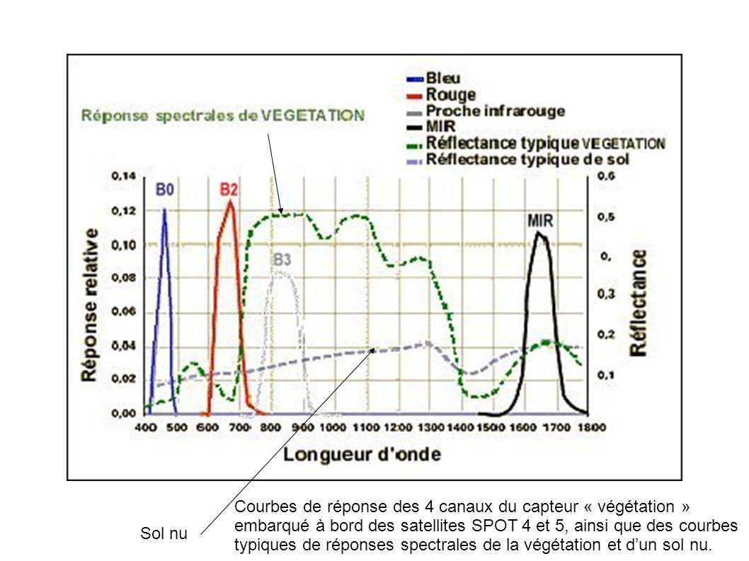 Sol nu Courbes de réponse des 4 canaux du capteur « végétation » embarqué à bord des satellites SPOT 4 et 5, ainsi que des courbes typiques de réponse
