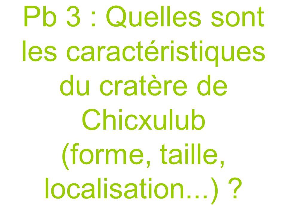 Pb 3 : Quelles sont les caractéristiques du cratère de Chicxulub (forme, taille, localisation...) ?.