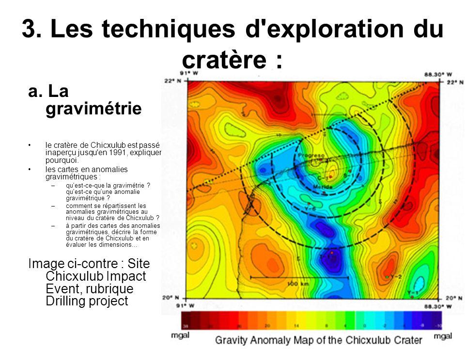 3. Les techniques d'exploration du cratère : a. La gravimétrie le cratère de Chicxulub est passé inaperçu jusqu'en 1991, expliquer pourquoi. les carte