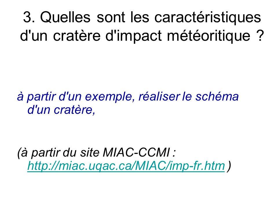 3. Quelles sont les caractéristiques d'un cratère d'impact météoritique ? à partir d'un exemple, réaliser le schéma d'un cratère, (à partir du site MI
